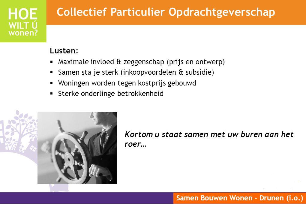 Samen Bouwen Wonen – Drunen (i.o.) Lusten:  Maximale invloed & zeggenschap (prijs en ontwerp)  Samen sta je sterk (inkoopvoordelen & subsidie)  Won