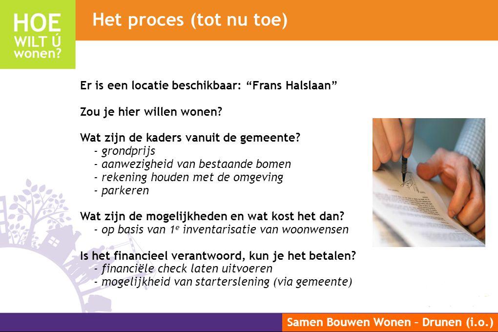 """Samen Bouwen Wonen – Drunen (i.o.) Er is een locatie beschikbaar: """"Frans Halslaan"""" Zou je hier willen wonen? Wat zijn de kaders vanuit de gemeente? -"""