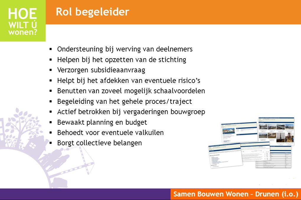 Samen Bouwen Wonen – Drunen (i.o.)  Ondersteuning bij werving van deelnemers  Helpen bij het opzetten van de stichting  Verzorgen subsidieaanvraag