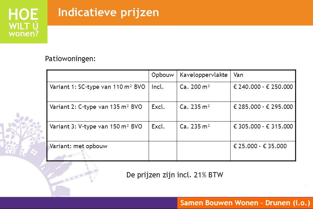 Samen Bouwen Wonen – Drunen (i.o.) OpbouwKaveloppervlakteVan Variant 1: SC-type van 110 m² BVOIncl.Ca. 200 m²€ 240.000 - € 250.000 Variant 2: C-type v