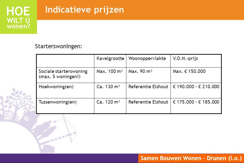 Samen Bouwen Wonen – Drunen (i.o.) Indicatieve prijzen KavelgrootteWoonoppervlakteV.O.N.-prijs Sociale starterswoning (max. 5 woningen!) Max. 100 m²Ma