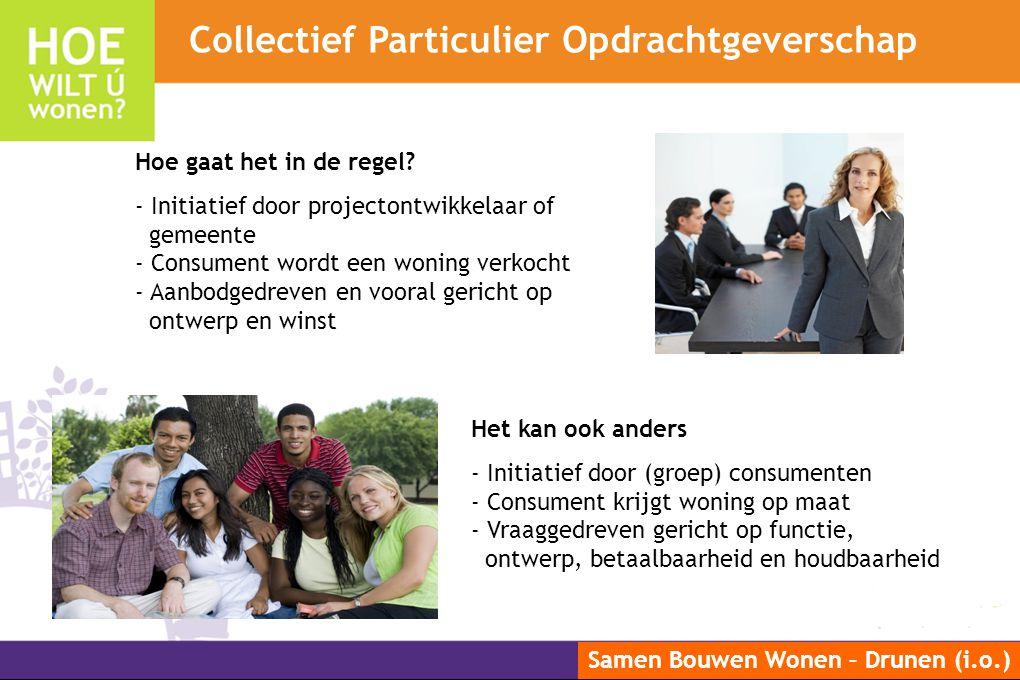 Samen Bouwen Wonen – Drunen (i.o.) Hoe gaat het in de regel? - Initiatief door projectontwikkelaar of gemeente - Consument wordt een woning verkocht -