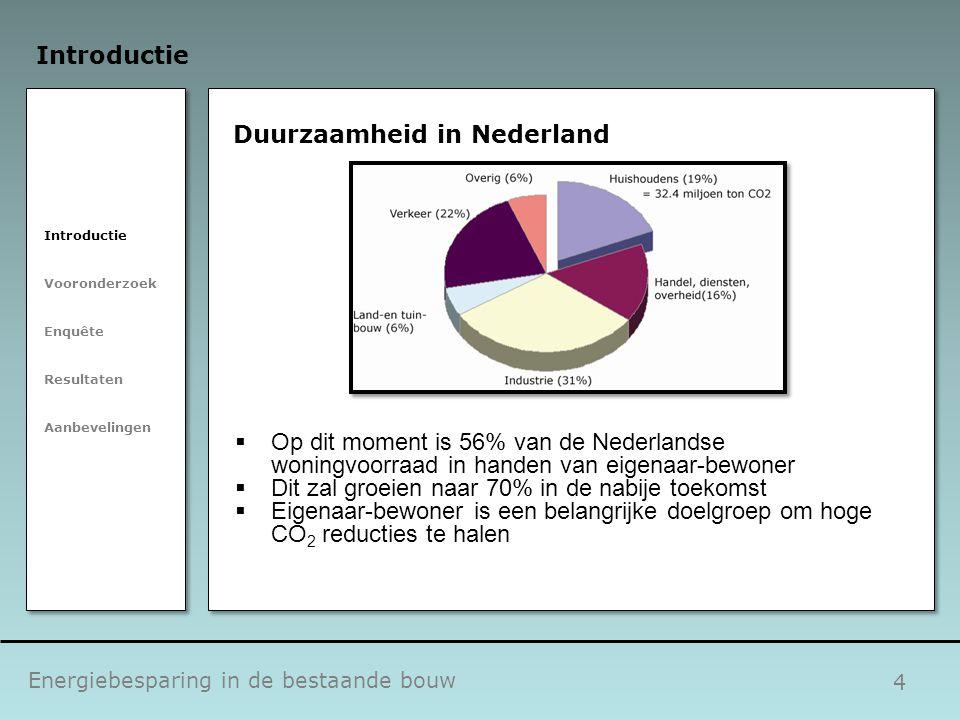 4 Duurzaamheid in Nederland  Op dit moment is 56% van de Nederlandse woningvoorraad in handen van eigenaar-bewoner  Dit zal groeien naar 70% in de n