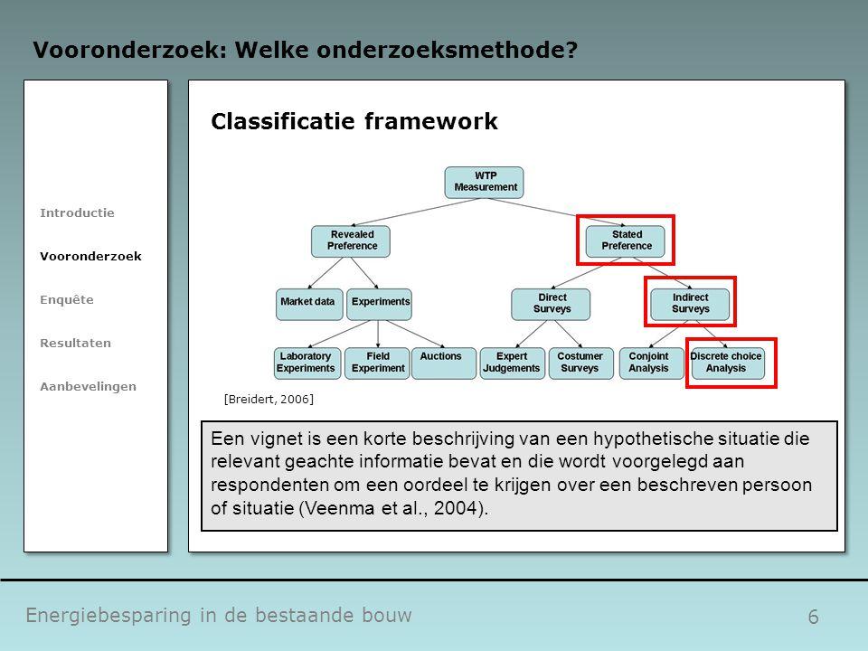 6 Classificatie framework Energiebesparing in de bestaande bouw Vooronderzoek: Welke onderzoeksmethode? Introductie Vooronderzoek Enquête Resultaten A