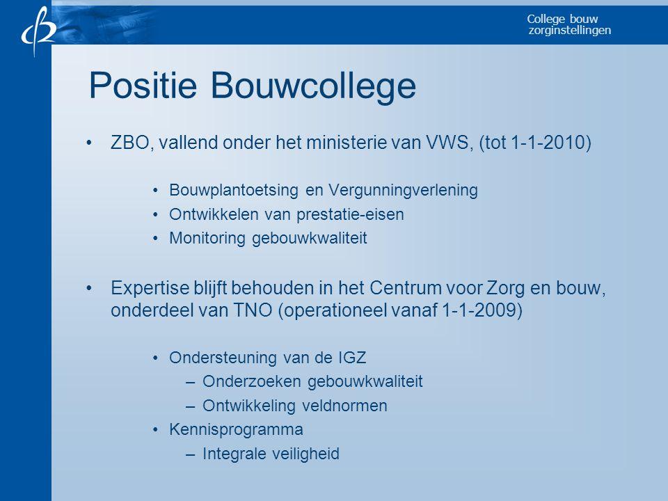 College bouw zorginstellingen Positie Bouwcollege •ZBO, vallend onder het ministerie van VWS, (tot 1-1-2010) •Bouwplantoetsing en Vergunningverlening
