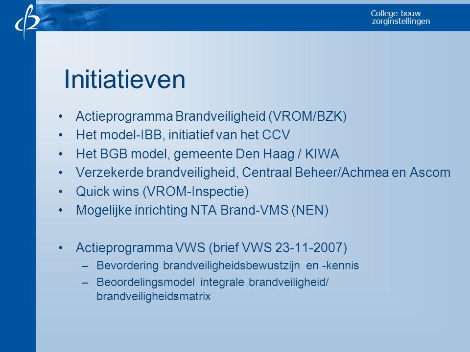 College bouw zorginstellingen Initiatieven •Actieprogramma Brandveiligheid (VROM/BZK) •Het model-IBB, initiatief van het CCV •Het BGB model, gemeente Den Haag / KIWA •Verzekerde brandveiligheid, Centraal Beheer/Achmea en Ascom •Quick wins (VROM-Inspectie) •Mogelijke inrichting NTA Brand-VMS (NEN) •Actieprogramma VWS (brief VWS 23-11-2007) –Bevordering brandveiligheidsbewustzijn en -kennis –Beoordelingsmodel integrale brandveiligheid/ brandveiligheidsmatrix