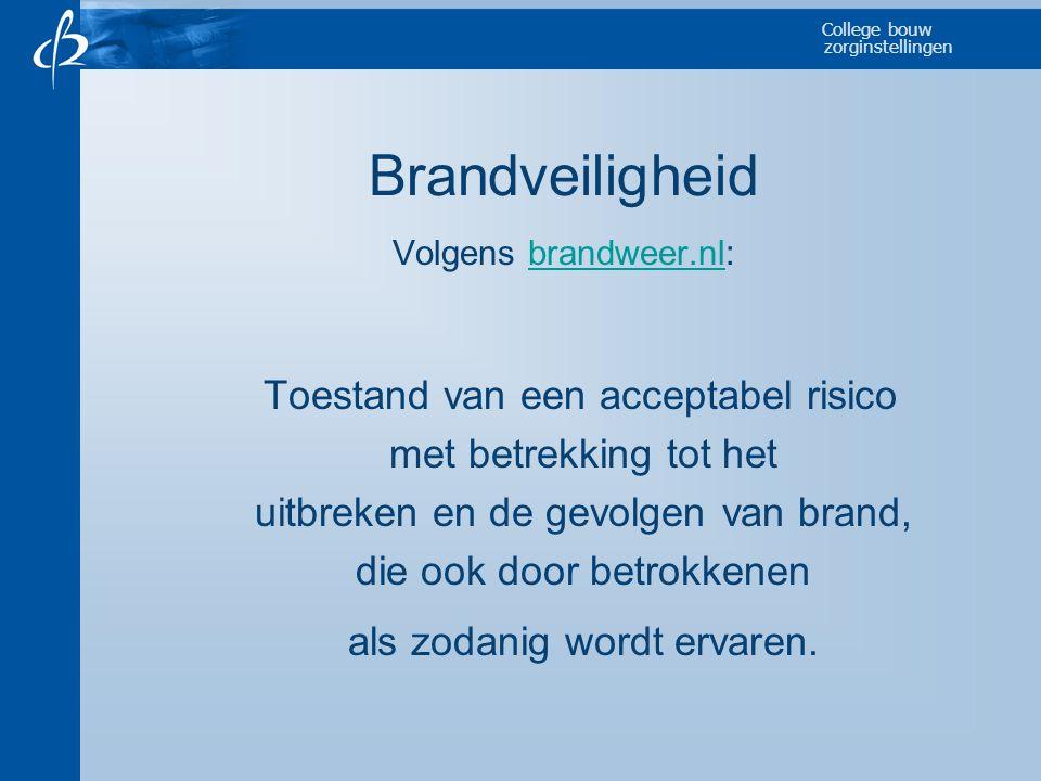 College bouw zorginstellingen Brandveiligheid Volgens brandweer.nl:brandweer.nl Toestand van een acceptabel risico met betrekking tot het uitbreken en
