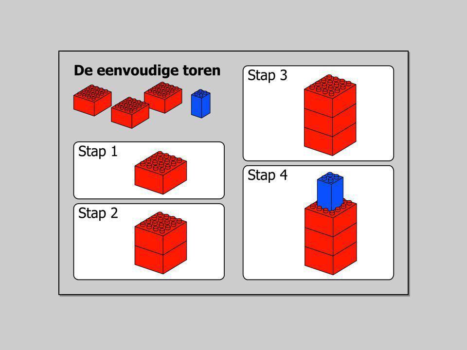 Het bouwen van een eenvoudige toren Benodigd: drie grote rode en een klein blauw blok Stap 1: Zet het eerste rode blok op de grond.