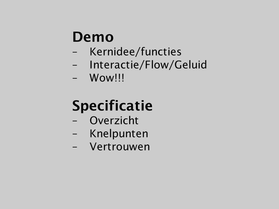 Demo+Spec Presentatie (her)Ontwerp Kernidee/Functies Doelgroep/Gebruik Gaat lukken/Haalbaar Wow!.