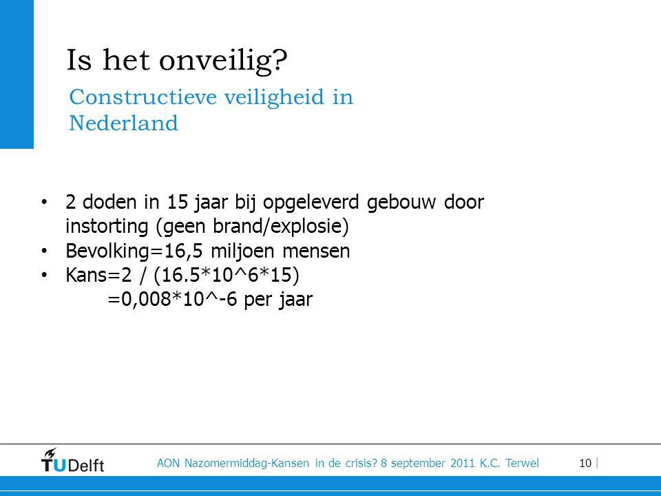 10 AON Nazomermiddag-Kansen in de crisis? 8 september 2011 K.C. Terwel | Is het onveilig? Constructieve veiligheid in Nederland • 2 doden in 15 jaar b