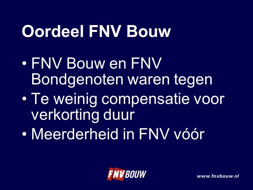 Oordeel FNV Bouw •FNV Bouw en FNV Bondgenoten waren tegen •Te weinig compensatie voor verkorting duur •Meerderheid in FNV vóór