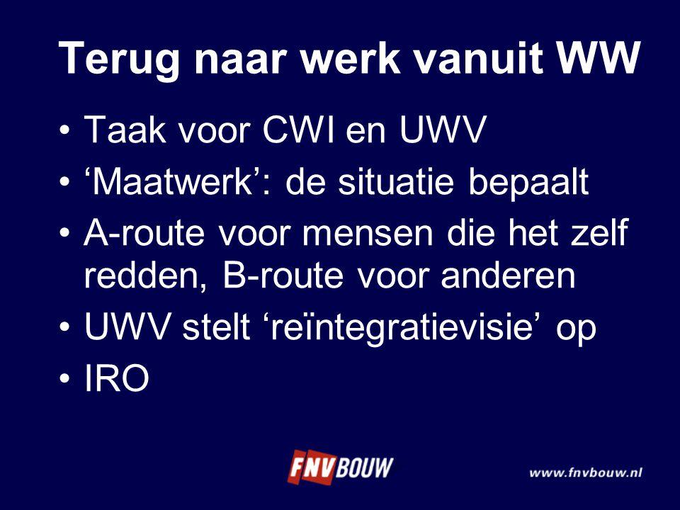 Terug naar werk vanuit WW •Taak voor CWI en UWV •'Maatwerk': de situatie bepaalt •A-route voor mensen die het zelf redden, B-route voor anderen •UWV s