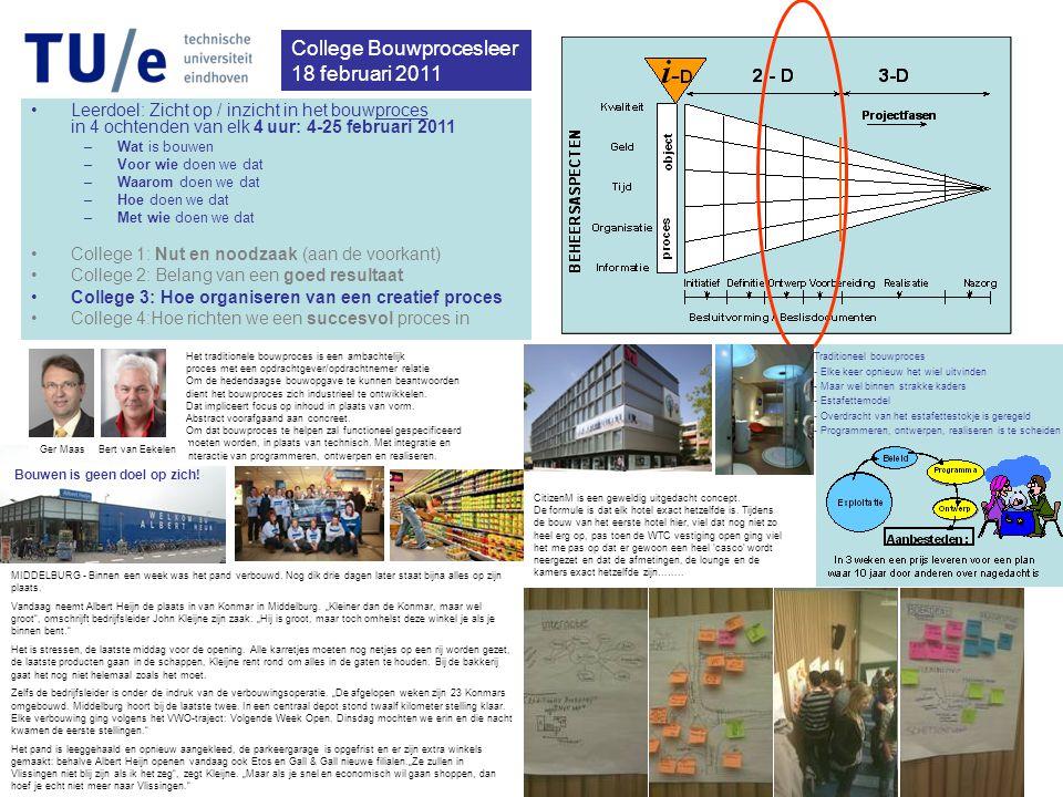 College Bouwprocesleer 18 februari 2011 •Leerdoel: Zicht op / inzicht in het bouwproces in 4 ochtenden van elk 4 uur: 4-25 februari 2011 –Wat is bouwen –Voor wie doen we dat –Waarom doen we dat –Hoe doen we dat –Met wie doen we dat •College 1: Nut en noodzaak (aan de voorkant) •College 2: Belang van een goed resultaat •College 3: Hoe organiseren van een creatief proces •College 4:Hoe richten we een succesvol proces in MIDDELBURG - Binnen een week was het pand verbouwd.