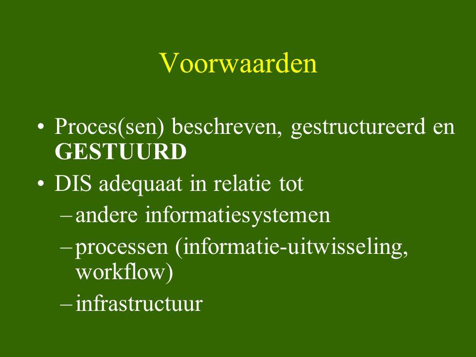 Voorwaarden •Proces(sen) beschreven, gestructureerd en GESTUURD •DIS adequaat in relatie tot –andere informatiesystemen –processen (informatie-uitwiss