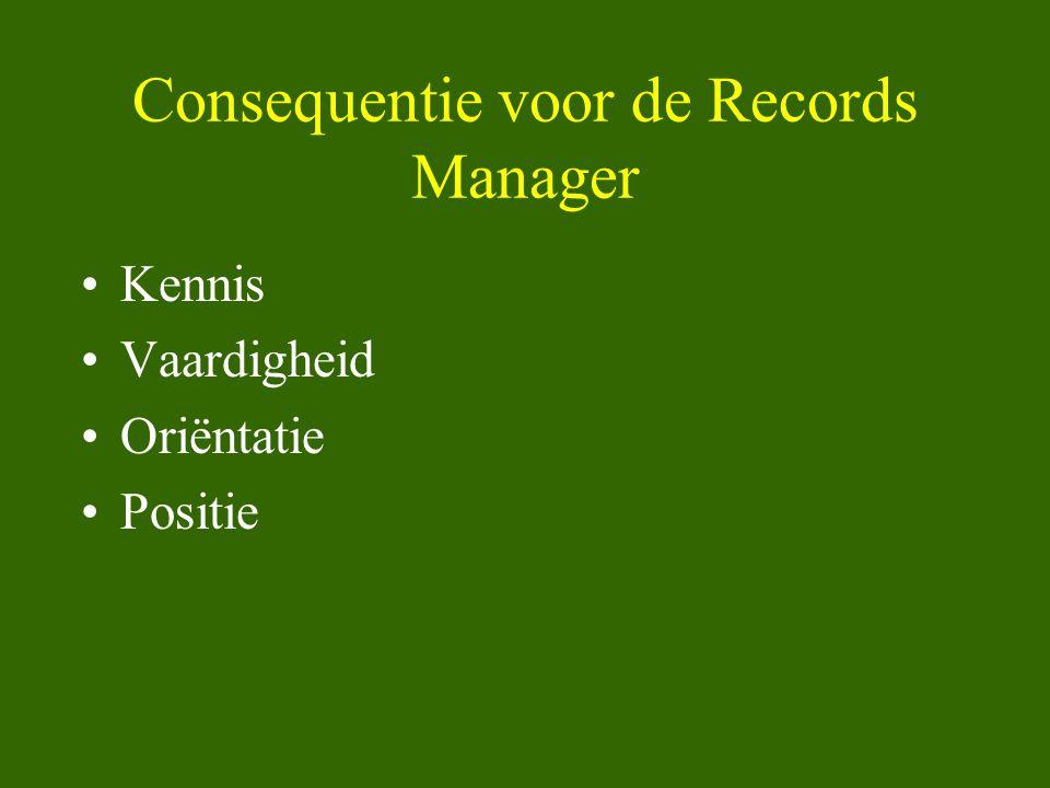 Consequentie voor de Records Manager •Kennis •Vaardigheid •Oriëntatie •Positie