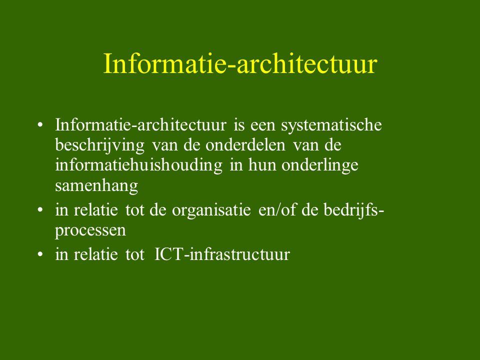 Informatie-architectuur •Informatie-architectuur is een systematische beschrijving van de onderdelen van de informatiehuishouding in hun onderlinge sa