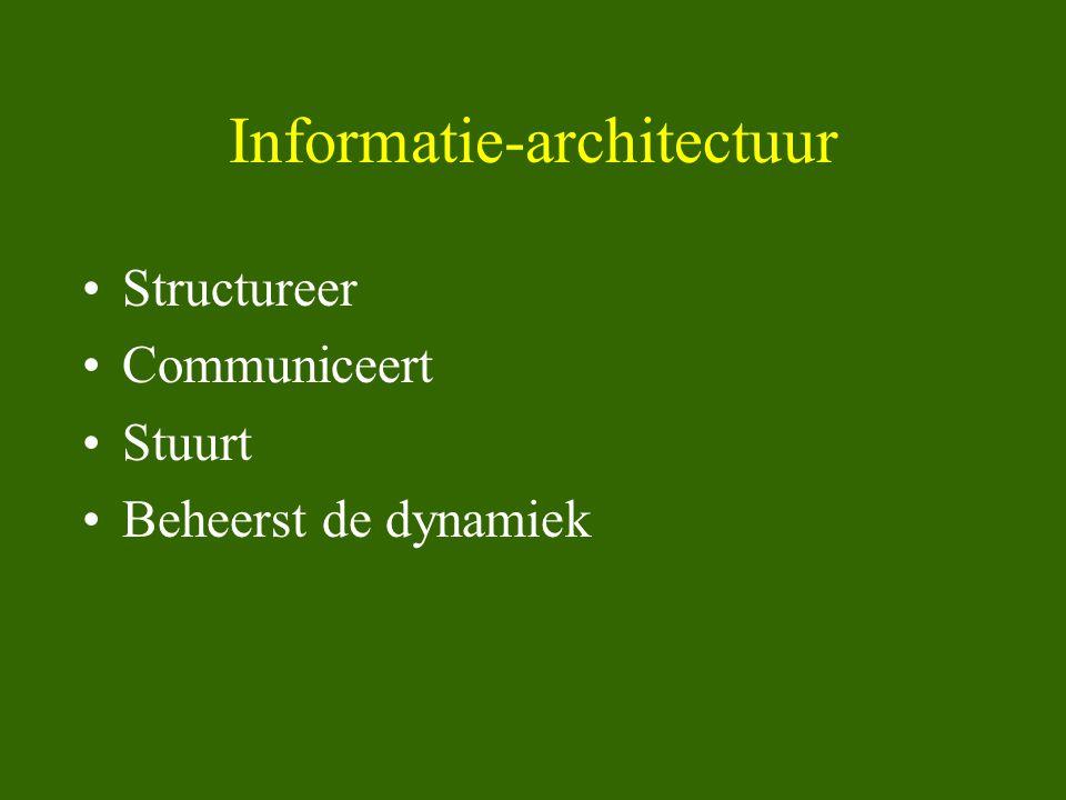 Informatie-architectuur •Structureer •Communiceert •Stuurt •Beheerst de dynamiek