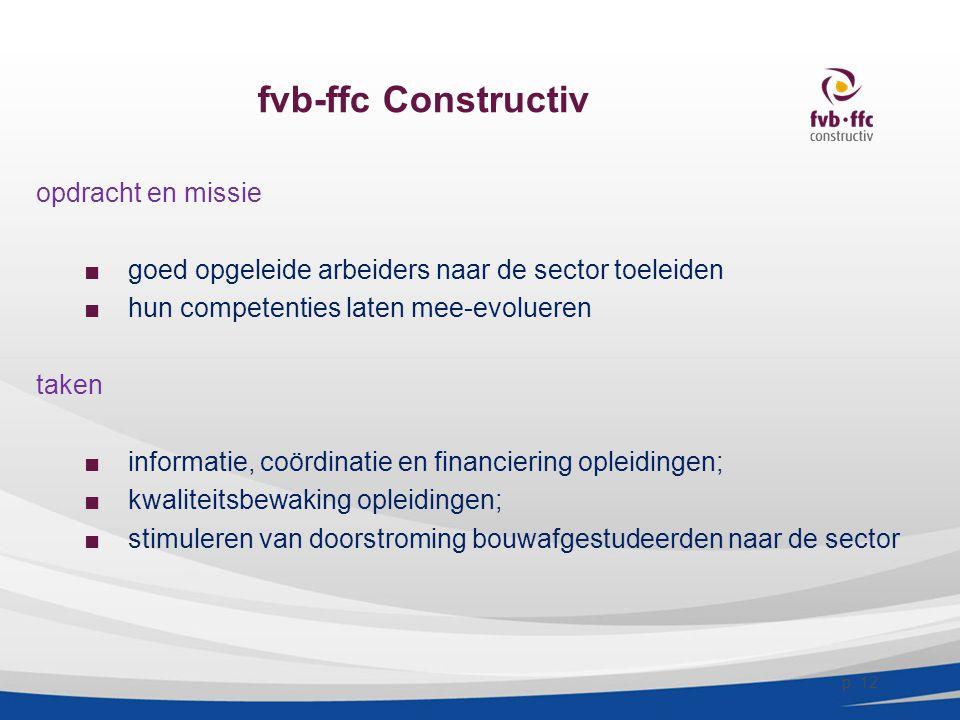 fvb-ffc Constructiv opdracht en missie ■goed opgeleide arbeiders naar de sector toeleiden ■hun competenties laten mee-evolueren taken ■informatie, coö