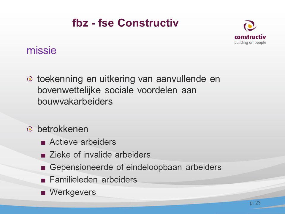 fbz - fse Constructiv missie toekenning en uitkering van aanvullende en bovenwettelijke sociale voordelen aan bouwvakarbeiders betrokkenen ■Actieve ar