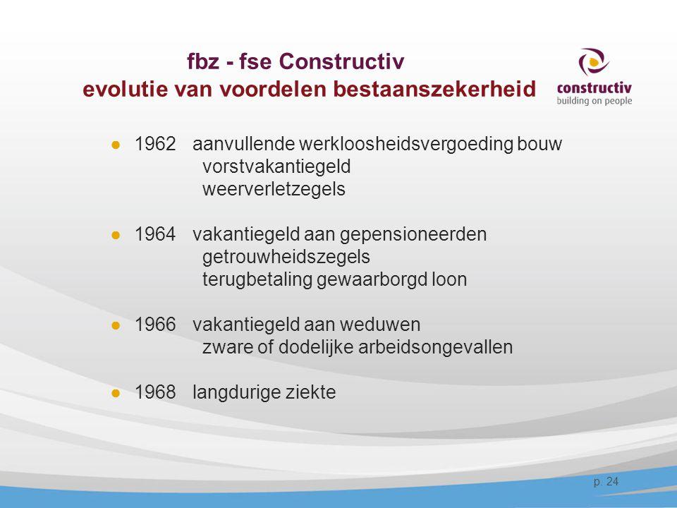 fbz - fse Constructiv evolutie van voordelen bestaanszekerheid ●1962 aanvullende werkloosheidsvergoeding bouw vorstvakantiegeld weerverletzegels ●1964