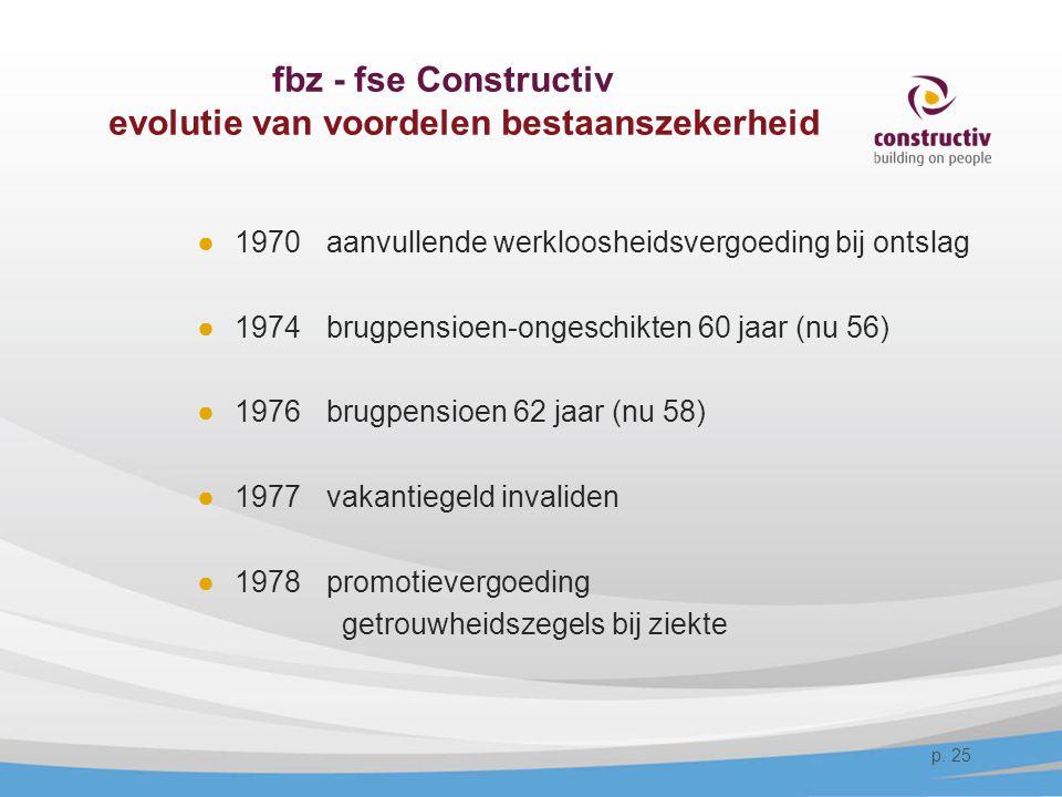 fbz - fse Constructiv evolutie van voordelen bestaanszekerheid ●1970 aanvullende werkloosheidsvergoeding bij ontslag ●1974 brugpensioen-ongeschikten 6