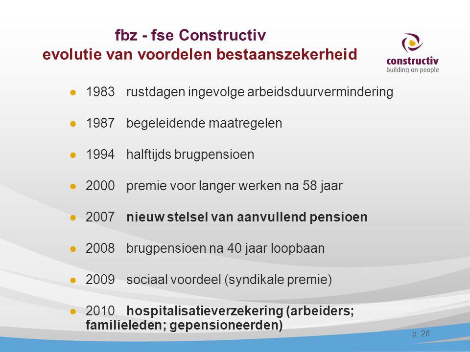 fbz - fse Constructiv evolutie van voordelen bestaanszekerheid ●1983 rustdagen ingevolge arbeidsduurvermindering ●1987 begeleidende maatregelen ●1994