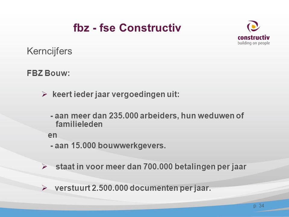 fbz - fse Constructiv Kerncijfers FBZ Bouw:  keert ieder jaar vergoedingen uit: - aan meer dan 235.000 arbeiders, hun weduwen of familieleden en - aa
