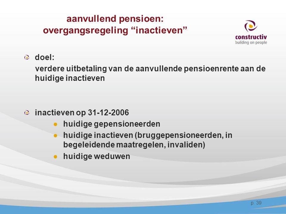 """aanvullend pensioen: overgangsregeling """"inactieven"""" doel: verdere uitbetaling van de aanvullende pensioenrente aan de huidige inactieven inactieven op"""