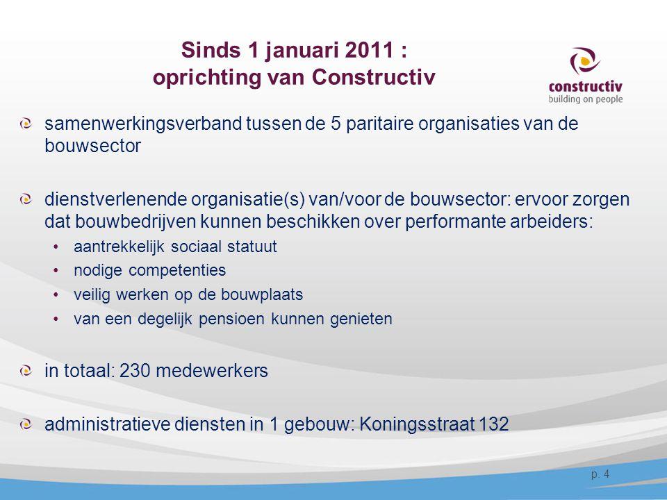 Sinds 1 januari 2011 : oprichting van Constructiv samenwerkingsverband tussen de 5 paritaire organisaties van de bouwsector dienstverlenende organisat