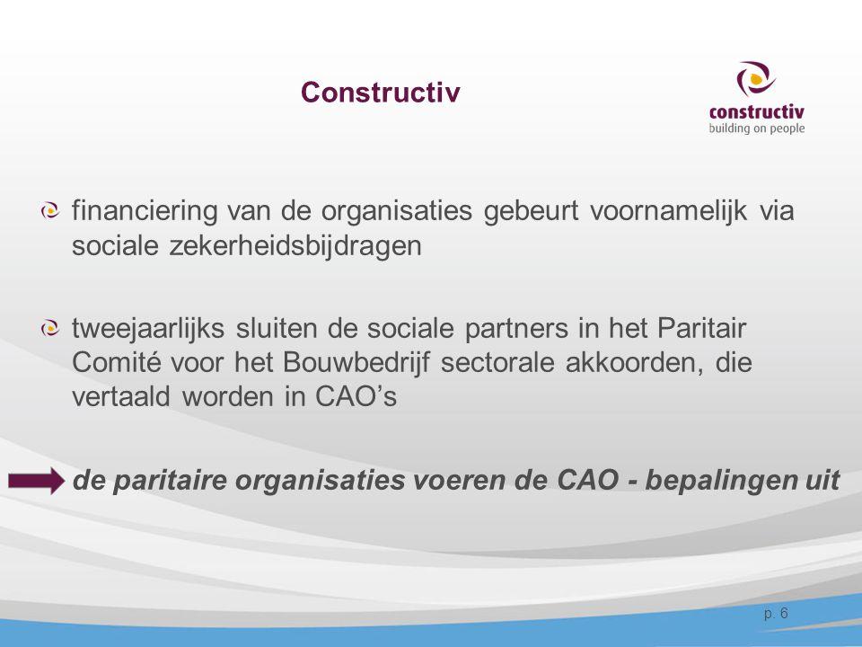 Constructiv financiering van de organisaties gebeurt voornamelijk via sociale zekerheidsbijdragen tweejaarlijks sluiten de sociale partners in het Par