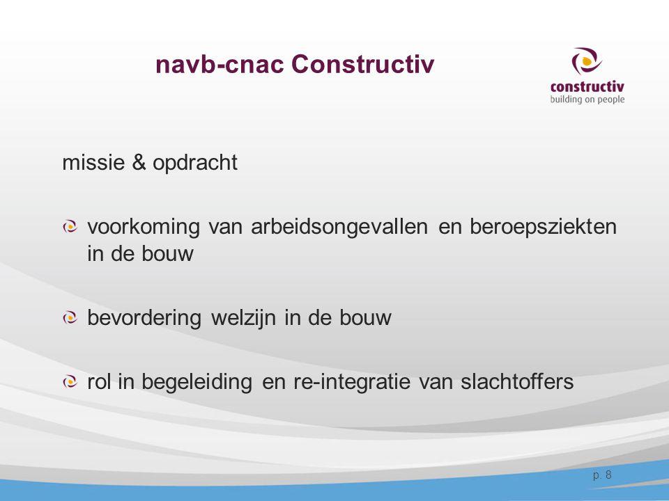 navb-cnac Constructiv missie & opdracht voorkoming van arbeidsongevallen en beroepsziekten in de bouw bevordering welzijn in de bouw rol in begeleidin