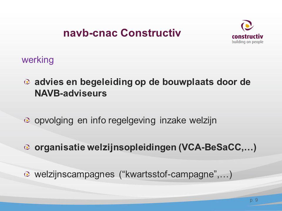 navb-cnac Constructiv werking advies en begeleiding op de bouwplaats door de NAVB-adviseurs opvolging en info regelgeving inzake welzijn organisatie w