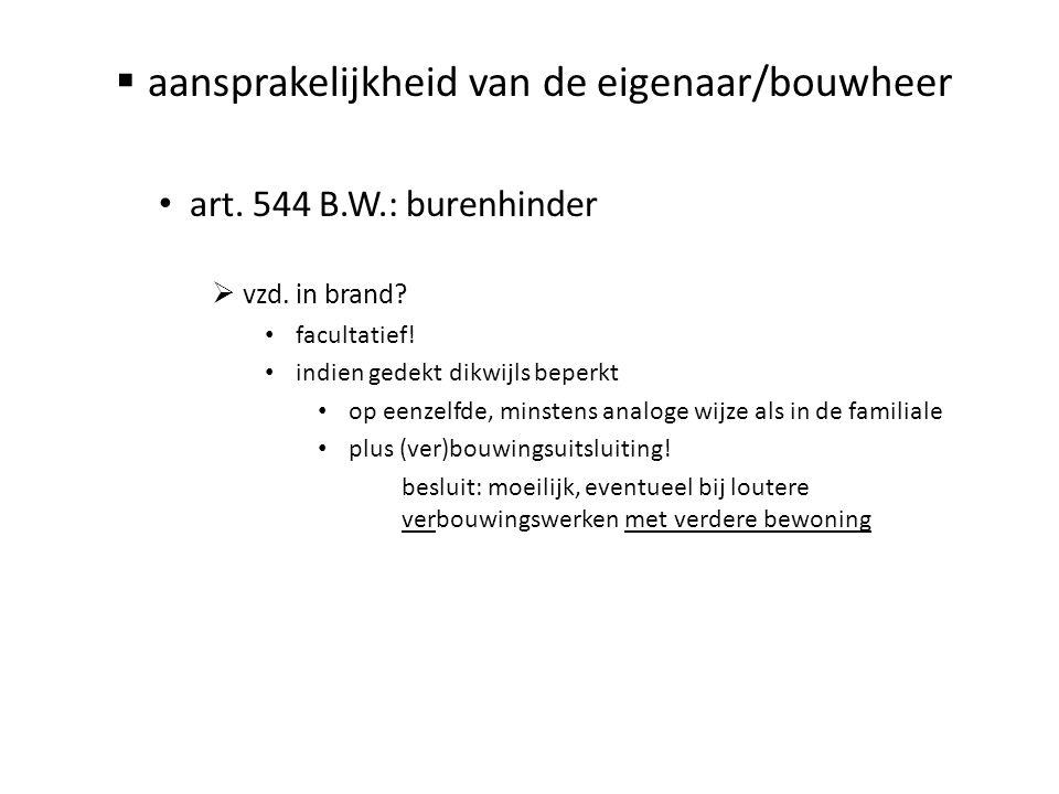  aansprakelijkheid van de eigenaar/bouwheer • art. 544 B.W.: burenhinder  vzd. in brand? • facultatief! • indien gedekt dikwijls beperkt • op eenzel