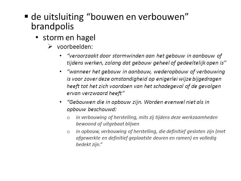 """ de uitsluiting """"bouwen en verbouwen"""" brandpolis • storm en hagel  voorbeelden: • """"veroorzaakt door stormwinden aan het gebouw in aanbouw of tijdens"""