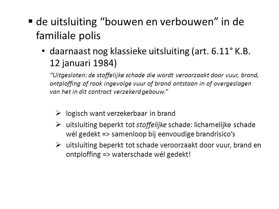 """ de uitsluiting """"bouwen en verbouwen"""" in de familiale polis • daarnaast nog klassieke uitsluiting (art. 6.11° K.B. 12 januari 1984) """"Uitgesloten: de"""
