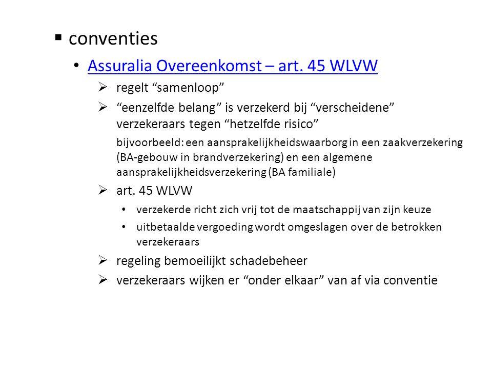 """ conventies • Assuralia Overeenkomst – art. 45 WLVW Assuralia Overeenkomst – art. 45 WLVW  regelt """"samenloop""""  """"eenzelfde belang"""" is verzekerd bij"""