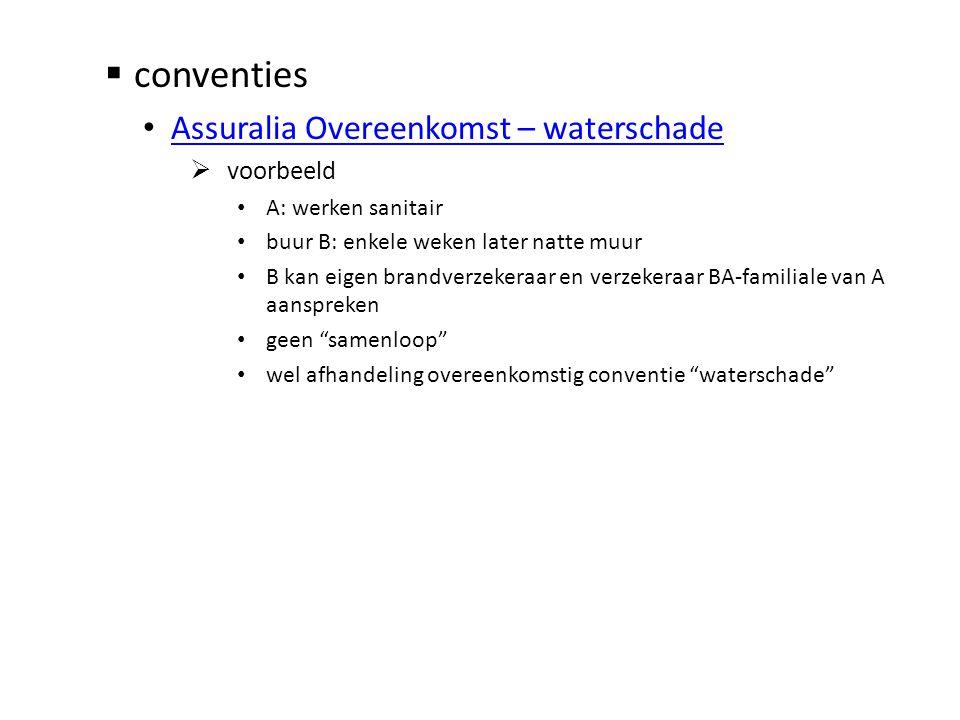  conventies • Assuralia Overeenkomst – waterschade Assuralia Overeenkomst – waterschade  voorbeeld • A: werken sanitair • buur B: enkele weken later