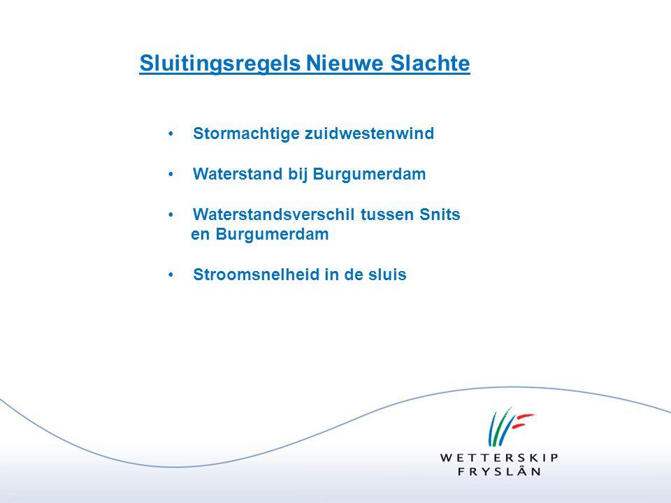 Sluitingsregels Nieuwe Slachte •Stormachtige zuidwestenwind •Waterstand bij Burgumerdam •Waterstandsverschil tussen Snits en Burgumerdam •Stroomsnelhe