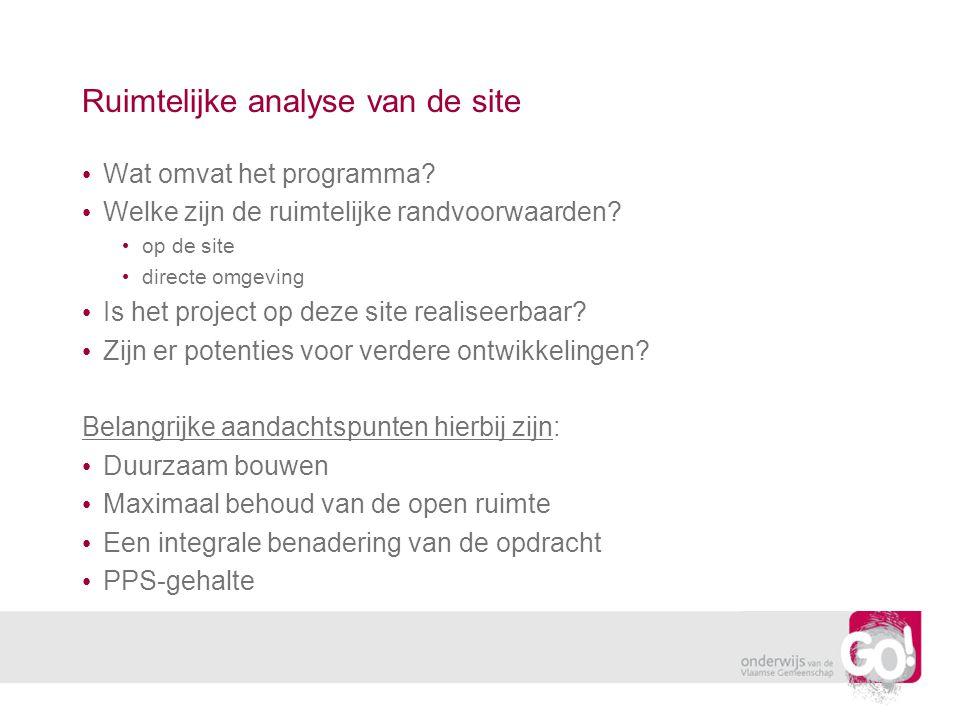 Ruimtelijke analyse van de site • Wat omvat het programma.