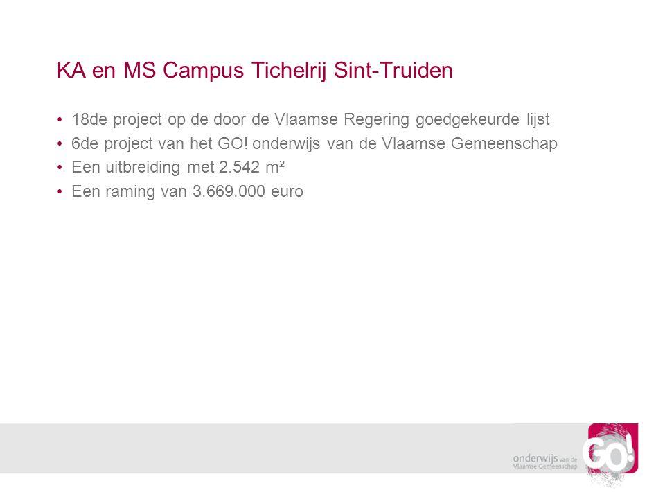 KA en MS Campus Tichelrij Sint-Truiden • 18de project op de door de Vlaamse Regering goedgekeurde lijst • 6de project van het GO.