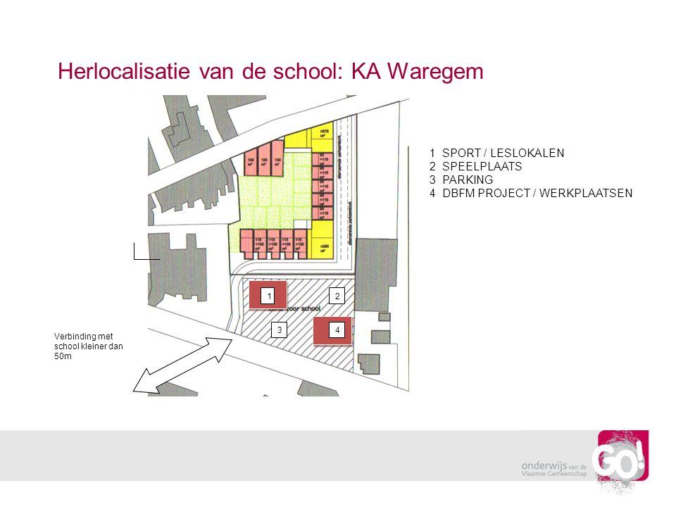 Herlocalisatie van de school: KA Waregem 12 34 Verbinding met school kleiner dan 50m 1 SPORT / LESLOKALEN 2 SPEELPLAATS 3 PARKING 4 DBFM PROJECT / WERKPLAATSEN
