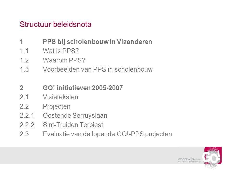 Structuur beleidsnota 1PPS bij scholenbouw in Vlaanderen 1.1Wat is PPS.