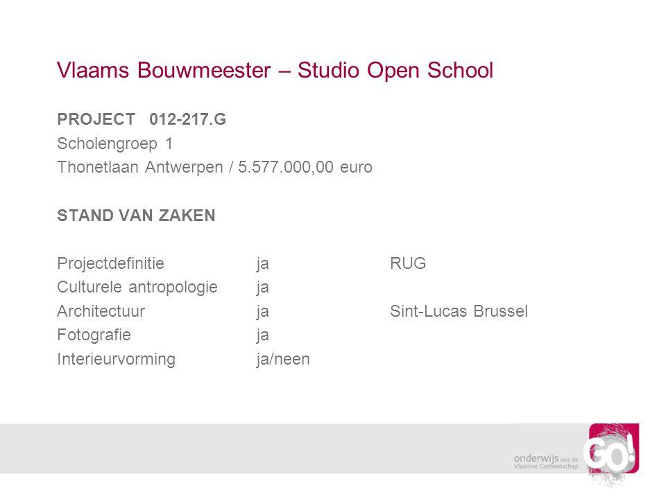 Vlaams Bouwmeester – Studio Open School PROJECT 012-217.G Scholengroep 1 Thonetlaan Antwerpen / 5.577.000,00 euro STAND VAN ZAKEN ProjectdefinitiejaRUG Culturele antropologieja ArchitectuurjaSint-Lucas Brussel Fotografieja Interieurvormingja/neen