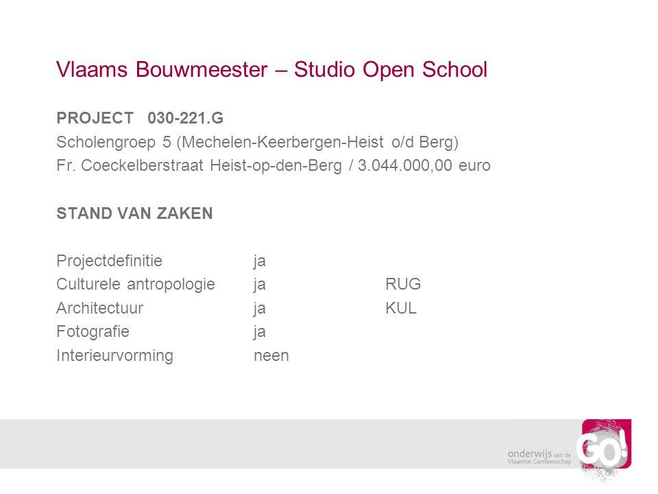 Vlaams Bouwmeester – Studio Open School PROJECT 030-221.G Scholengroep 5 (Mechelen-Keerbergen-Heist o/d Berg) Fr.