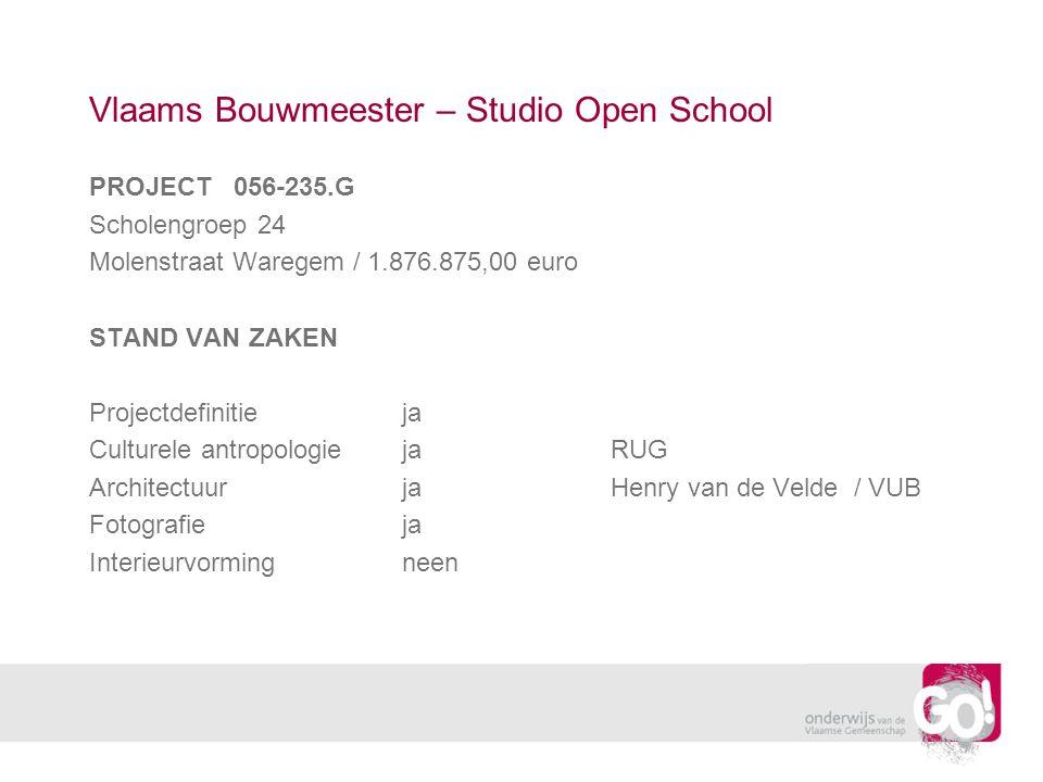 Vlaams Bouwmeester – Studio Open School PROJECT 056-235.G Scholengroep 24 Molenstraat Waregem / 1.876.875,00 euro STAND VAN ZAKEN Projectdefinitieja Culturele antropologiejaRUG ArchitectuurjaHenry van de Velde / VUB Fotografieja Interieurvormingneen