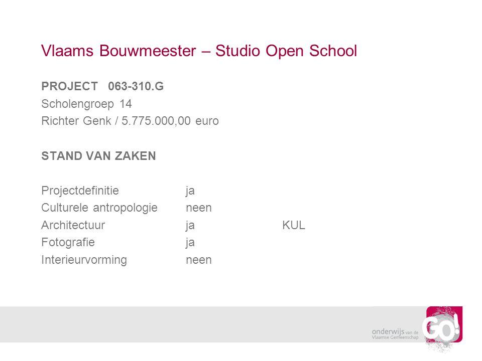 Vlaams Bouwmeester – Studio Open School PROJECT 063-310.G Scholengroep 14 Richter Genk / 5.775.000,00 euro STAND VAN ZAKEN Projectdefinitieja Culturele antropologieneen ArchitectuurjaKUL Fotografieja Interieurvormingneen