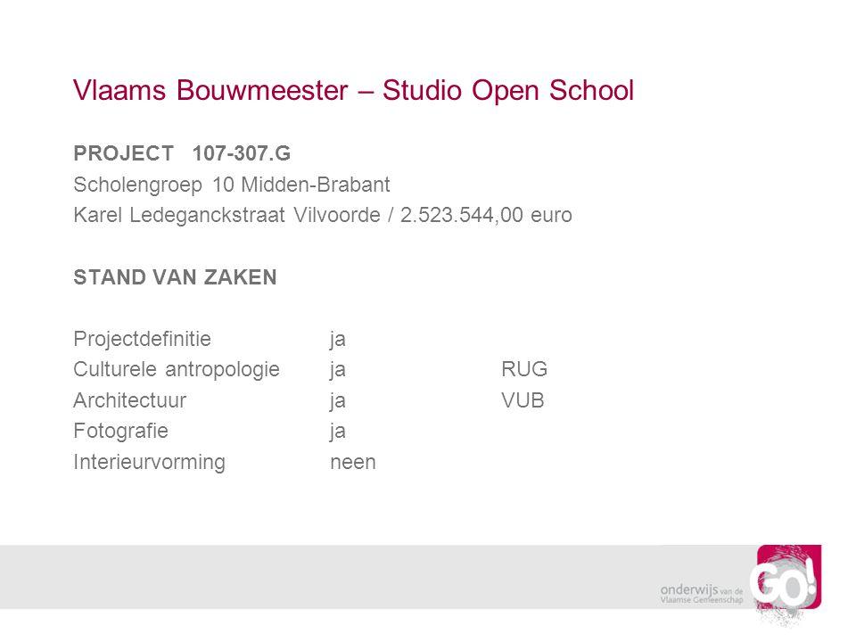 Vlaams Bouwmeester – Studio Open School PROJECT 107-307.G Scholengroep 10 Midden-Brabant Karel Ledeganckstraat Vilvoorde / 2.523.544,00 euro STAND VAN ZAKEN Projectdefinitieja Culturele antropologiejaRUG ArchitectuurjaVUB Fotografieja Interieurvormingneen