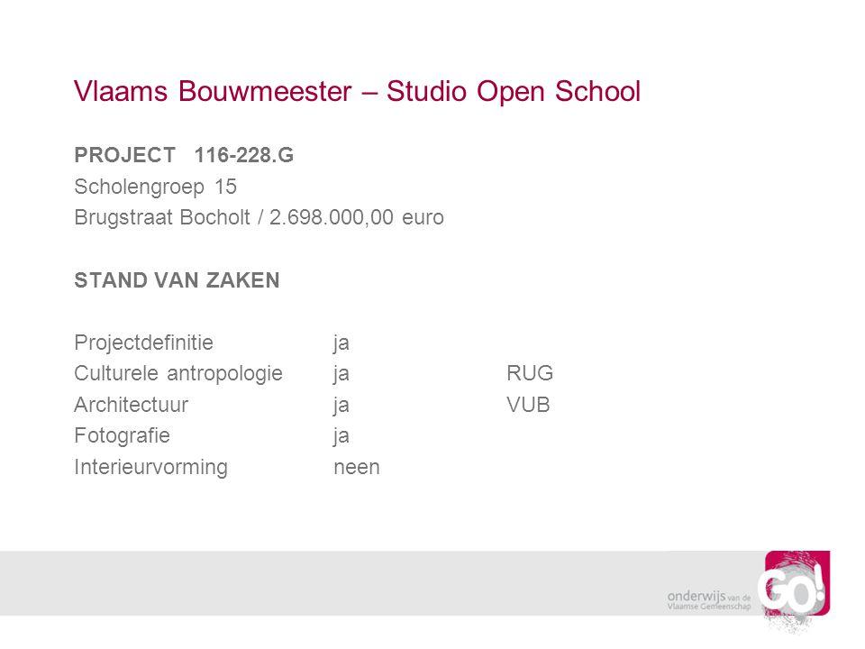 Vlaams Bouwmeester – Studio Open School PROJECT 116-228.G Scholengroep 15 Brugstraat Bocholt / 2.698.000,00 euro STAND VAN ZAKEN Projectdefinitieja Culturele antropologiejaRUG ArchitectuurjaVUB Fotografieja Interieurvormingneen