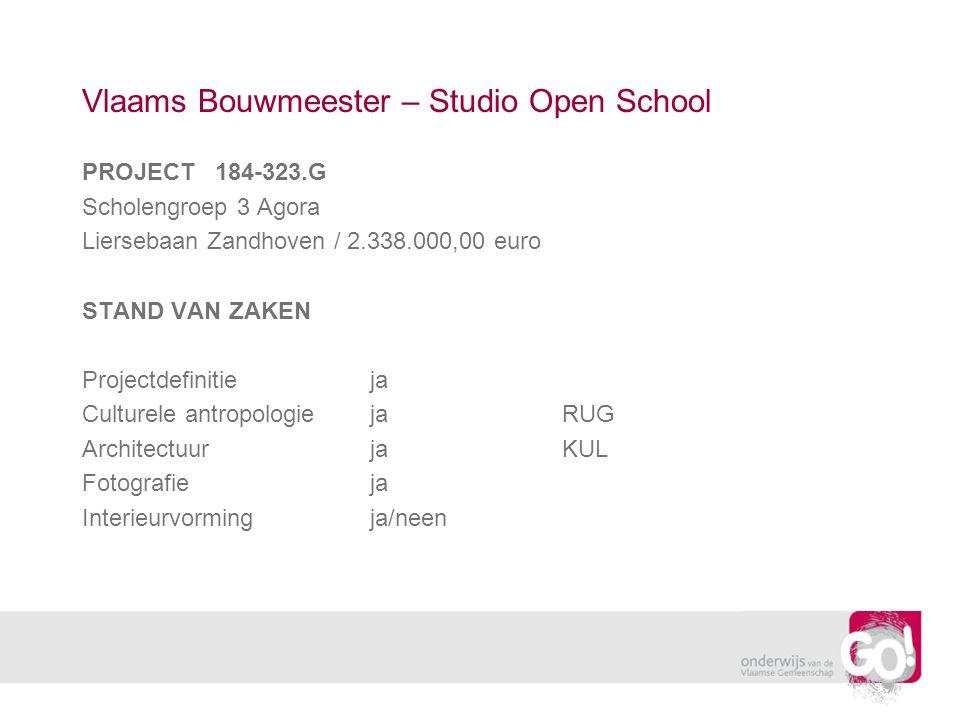 Vlaams Bouwmeester – Studio Open School PROJECT 184-323.G Scholengroep 3 Agora Liersebaan Zandhoven / 2.338.000,00 euro STAND VAN ZAKEN Projectdefinitieja Culturele antropologiejaRUG ArchitectuurjaKUL Fotografieja Interieurvormingja/neen
