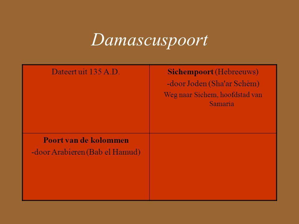 Damascuspoort Dateert uit 135 A.D.Sichempoort (Hebreeuws) -door Joden (Sha ar Schèm) Weg naar Sichem, hoofdstad van Samaria Poort van de kolommen -door Arabieren (Bab el Hamud)